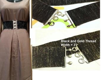 Black silver Belt, Black gold belt, Wide belt, elastic belt, cinch belt, Plus size belt, Plus size, Oversize belt, oversize, made to order