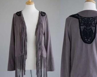 Women's clothing faux suede gray fringe hippie western jacket coat size S