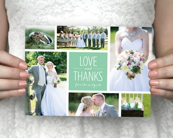 DIY Printable Six Photo Wedding Thank You Card - Jessica & Shane.