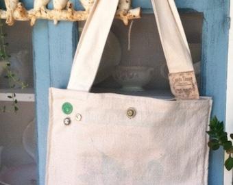 large grain sack tote, linen tote, beach tote/ market tote