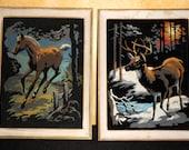 2 Super Cool Vintage Framed Felt Painting -
