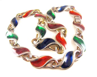 Colorful Enamel Necklace Bonus Bangle Bracelet Vintage Enamelware Jewelry