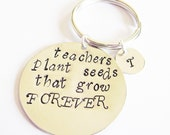 Personalized Teacher keychain, Teacher gift, To Teach is to Plant a Seed Quote Retirement Gift, custom initial Teacher Retirement  Professor