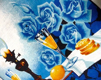 Retro Blue Rose Still Life Print Cotton Teatowel