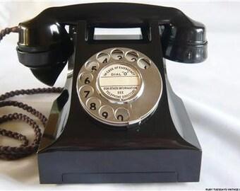 Vintage GPO Black Bakelite Telephone retro dial phone