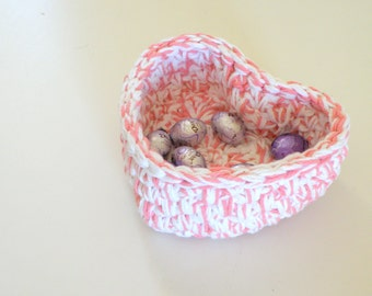 Larger Crocheted Heart shaped Storage Baskets, Lovely Mother's Day Jewelry Bowl,  Cotton Bin, Baby Nursery Boy or Girl gifts, in 4 colors