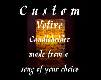 Custom votive sheet music Candle holder/ luminary with mango leaf paper. Made with a song of your choice!