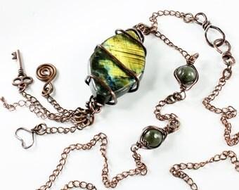 Golden Flash Labradorite Necklace, Copper Wire Wrap, forged copper wire, long original artisan necklace, semiprecious stones, NL2581