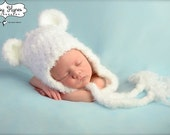 Crochet Fuzzy Soft Polar Bear  Hat, photography prop, 0 to 3 months, crochet hat