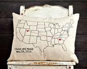 U.S.A Map, Hearts Stitched Together...Personalized Pillow Cover, 16x20 inches, Screenprint on Natural Linen, hand stitching