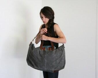Waxed Canvas Weekend Getaway Bag Patch Grey