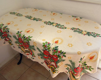 Vintage Christmas Tablecloth, Christmas Candles Bells Holly Pine Tablecloth, Xmas Holidays Table Linens
