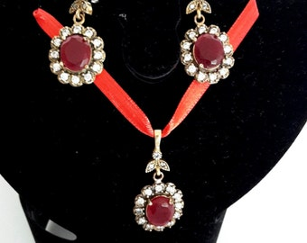 Oriental ruby jewelry set 925 silver/ruby and rhinestone pendant and earrings/ottoman jewelry set