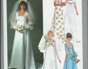 VTG Bridal Gown and Bridesmaid Dress Pattern, Wedding Dress, Simplicity 8392, Available Sizes 8, 10, 12 & 14, UNCUT