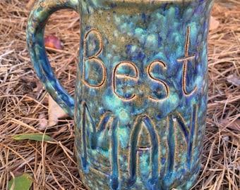Thank you for being our best man, best man gift, best man mug, best man beer mug, best man coffee mug, ceramic pottery, carved, blue