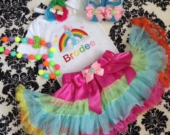 Rainbow Birthday outfit-include Personalised Top and skirt. Free matching headband