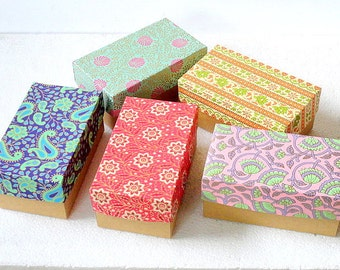 Large Kraft box -5 Assorted Indian prints 7 x 4 x 3 inch Gift box, Packaging box,wedding favor box, , Jewelry Packaging Boxes,Chocolate box.