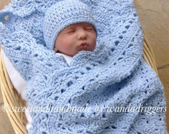 New Beautiful blue baby boys crochet afghan blanket and hat set crochet hat and blanket baby shower set MADE TO ORDER
