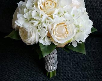 Cream Rose bridal bouquet | White hydrangea silk flower bouquet | Elegant wedding bouquet
