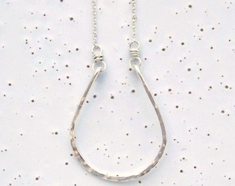 Sterling Silver Medium Textured Horseshoe Necklace