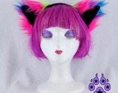 Pawstar NEON RAINBOW Fluffy MEW Ear Headband Faux Fur Furry fuzzy Kitty Cat Ears Pink Green and Purple Neko Anime Costume Cosplay Soft 3954