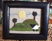 Sheep in the Field Framed Piece Wall Hanging Shelf Tuck