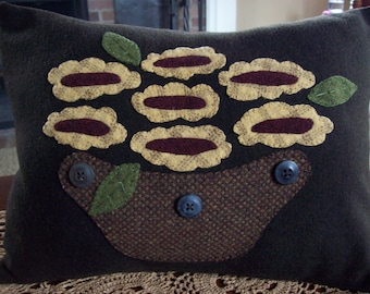 Abstract Folk Art Basket of Sunflowers Pillow Slipcover