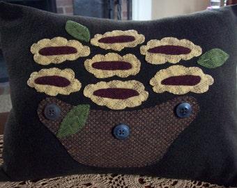 Abstract Folk Art Basket of Sunflowers Pillow Slipcover