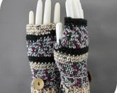 Fingerless Gloves Ladies Hand Crocheted Black Gray Elements Flower Print Multi Colors
