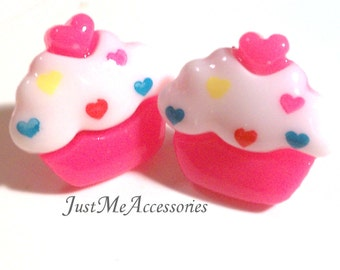 Yummy Sweet, Cute Kawaii Miniature Food, Pink Cake & White Frosting with Colorful Heart Spinkles Cupcake Topped with a Heart Post Earrings