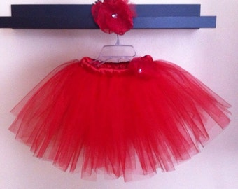 Short Red Tutu Skirt(5-6T size) with a Flower Hair Clip