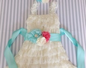 Baby girls ivory lace dress-3 piece set-ivory aqua coral baby outfit-cake smash outfit-coral lace dress-photo prop-baby shower gift