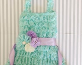 Baby girls aqua lace dress-3 piece set-aqua lavender baby outfit-cake smash outfit-purple lace dress-photo prop-1st birthday outfit-Easter