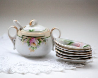 Mini Sugar Bowl and Butter Pat Dish, Nippon China Hand Painted