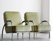 Flat Iron Lounge Chairs, Custom Made, 1930s Inspired