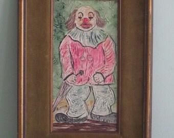 Vintage Framed CLOWN Oil Painting