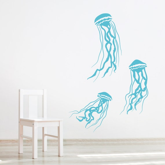 Jelly fish wall decal underwater decal ocean decal nursery for Beach wall mural sticker