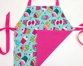 Child's Apron / Smock, reversible cupcakes and polka dots
