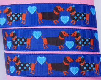 "10Yd Printed Cobalt Sweet Heart Sausage Dogs 7/8"" White Grosgrain Ribbon"