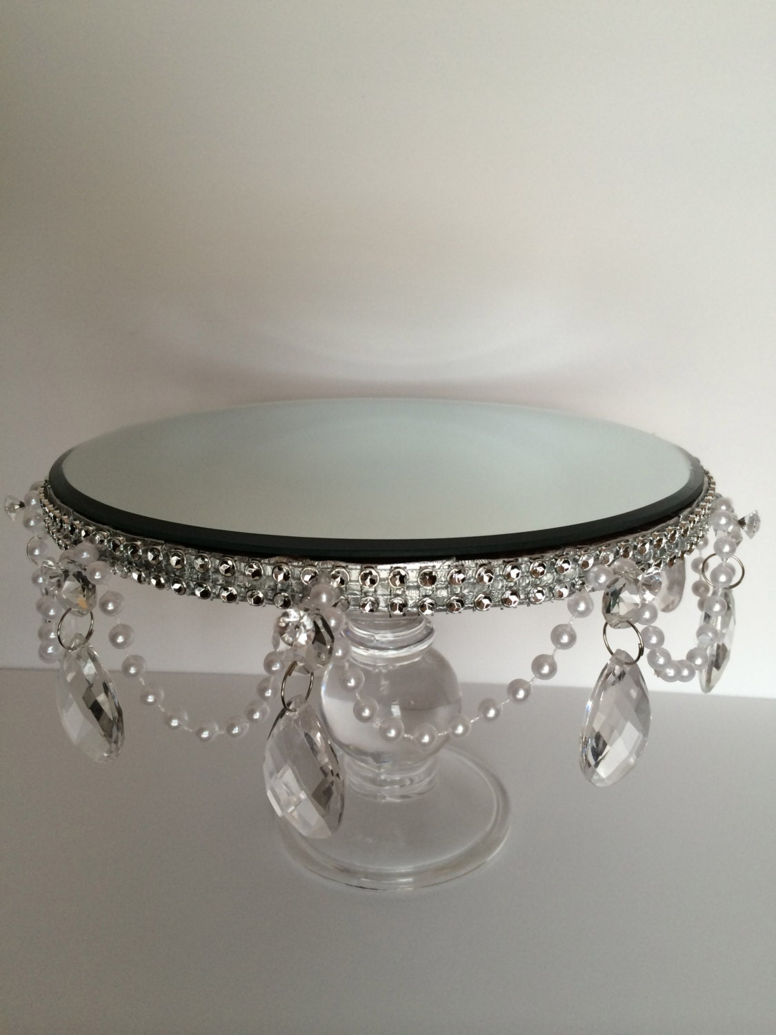 Cake Stand with Pearl and Acrylic Tear Drop Crystals