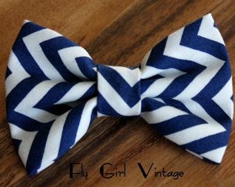 Navy Blue Chevron Fabric Hair Bow Fabric Hairbows Bows Chevron hair clip Navy Hair bow