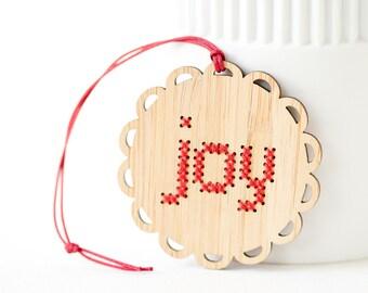 DIY Ornament Kit - Bamboo DIY Cross Stitch Kit - Joy Pattern