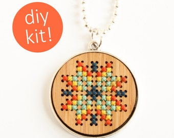 Modern Cross Stitch Jewelry // Hand Stitched Wood Necklace in Silver Pendant Frame // DIY Kit