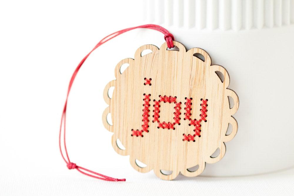 DIY Ornament Kit Bamboo DIY Cross Stitch Kit Joy Pattern