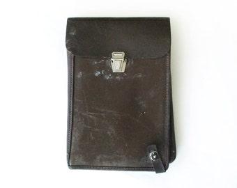 Vintage Mens Leather Bag, Military Officer's Map Bag, Mens Brown Bag