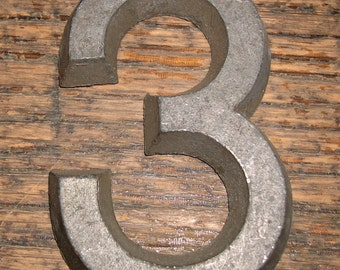 "Vintage Hardware Signage Pewter House Business Sign Number Letter 2 1/4"" h x 1 1/2"" w # 3"