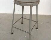 Vintage industrial steel stool.Mid century modern