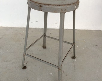 FREE SHIPPING   Vintage industrial steel stool.Mid century modern