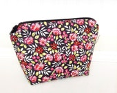 Pink Roses Floral Makeup Bag - Pretty Floral Makeup Pouch - Cosmetic Bag - Black Zipper Pouch