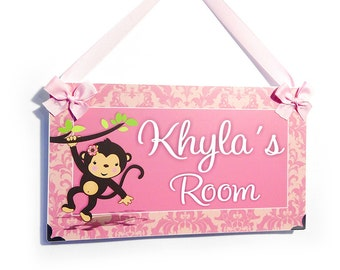 cute monkey damask in pink accents personalized girls bedroom door sign nursery decor - P2020